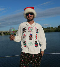 L Large UGLY Christmas Bears Holiday Party Sweater Shoulder Pads Mens Womens