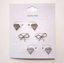 Target Fashion Earrings. 3 Pairs of Gold/Silver Bow & Diamond Shaped Studs. NEW