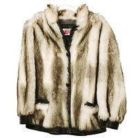 Womens French White & Black Acrylic Fur Jacket Size 14 Leather Trim and Buttons