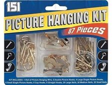87PC ASSORTED PICTURE HANGING KIT CUP SET NAILS WIRE HOOK DIY CANVAS TACKS FRAME