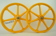 "Skyway BMX 24"" TUFF WHEELS cruiser Mags in YELLOW sealed bearing hubs USA MADE"