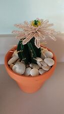Handmade french beaded Flower Cactus Cacti plant rosealine flower in Clay pot