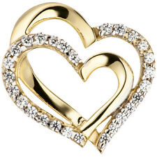 Anhänger Herzen 333 Gold Gelbgold mit Zirkonia Goldanhänger Goldherz