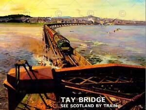 TRANSPORT RAILWAY TRAIN TAY BRIDGE DUNDEE SCOTLAND RIVER ART POSTER PRINT CC6982