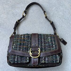 Vintage Coach Chelsea Boucle Leather, Suede, Tweed handbag with green interior