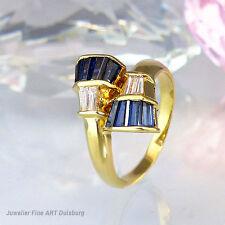 Ring in 585/- Gelbgold glänzend mit  4 Diam. ca. 0,30 ct . + 8 Saphiren 0,40 ct.