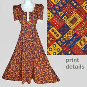 Vintage 70s Maxi Dress XS Calico Patchwork Lace Farmcore Country Red Blue Gold