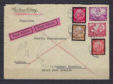 1934 Germany Scott B57, B54, 436, 439, 440 on spec'l del. cover Gaisthal-Lugano