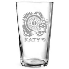 Personalised Engraved Beer Pint Glass Gift Steam Punk Birthday Christmas Gift