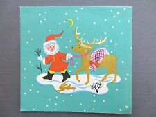Vintage CHRISTMAS Card Father Christmas Santa Claus Reindeer Snowy Day 1940s