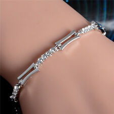 Bangle Chain Bracelet Women Jewelry 925 Silver Gold Crystal Cuff Charm Chain