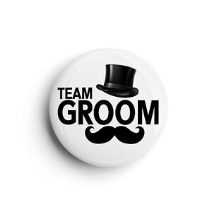Team Groom | Stag Do Wedding Top Hat Moustache | Button Pin Badge | 25mm 1 Inch