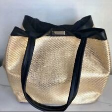 Versace Golden Tote Bag Shopping Beach Weekender Metallic Bag Handbag NEW