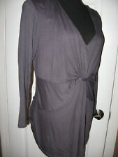 Daisy Fuentes Top,Knit,Gray, Bust Fitted,V Neck,3/4 Sleeve, XL