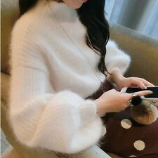 Women Sweater Soft Jumper Turtleneck Puff Sleeve Knit Pullover Warm Top Furry