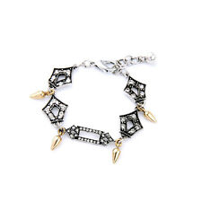 B1454 New Arrival Vintage Silver Geometric with Crystals Spikes Charm Bracelet