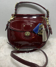 COACH Red CRIMSON Patent Leather LARGE WILLIS Crossbody Swing Bag Purse