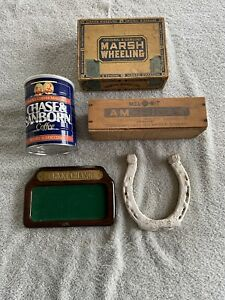 Antique Vintage Horseshoe, Wooden Cheese Box, Coffee Can, Pocket Change, Cigar J
