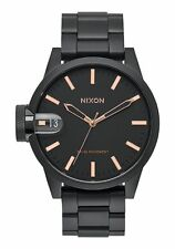 2016 MENS NW0B NIXON THE CHRONICLE 44 WATCH $350 all black/rose gold