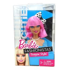 2010 Cutie Barbie Fashionistas Swappin Styles Head Pink Hair Dotty Bow