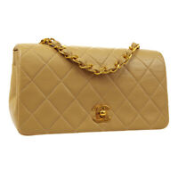 CHANEL Quilted Full Flap Single Chain Shoulder Bag 1615456 Beige Leather 02887