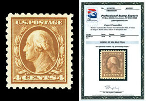 Scott 427 1914 4c Brown Washington Perf 10 Mint Graded XF 90J  LH with PSE CERT!