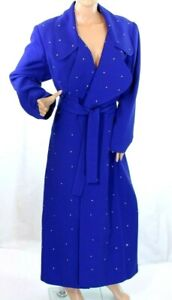 Eva Polini Couture Women's Blue Trench Coat with Rhinestone Size 12 Retail