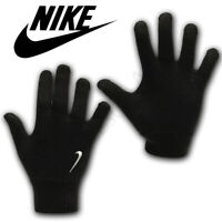 Nike Gloves Knitted Junior Kids Boys Running Sports Gym Winter Soft Warm Black