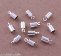 200 pcs Silver Plated Barrel Bead Leather Cord ends caps Jewelry findings 4x9mm
