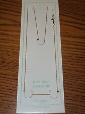 """14K PURE YELLOW GOLD - ROPE CHAIN 15"""" inch - .5mm Wide - SOLID GOLD - NEW"""