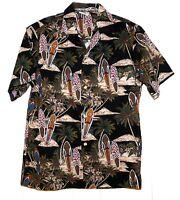 Aloha Republic Surfboards Palm Trees Volcano Hawaiian Shirt Size Mens Large USA