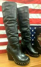 """HARLEY DAVIDSON WOMAN SIZE 6 M ONE OF A KIND WEDGE HI HEEL NEW 19"""" BOOTS D84327"""