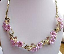 Ancien collier bijou vintage couleur or fleurs mauves cristaux améthyste 3509