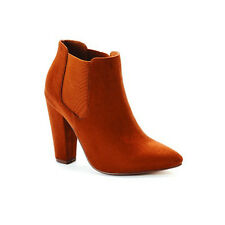 Suede Pointed Toe Ankle Boots Rusty Tan