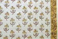 Hand Printed Cotton  2½ Yards Light Weight Fabric India Block Print Floral