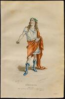 1875 - Grabado Émile Bayard: Retrato de Demócrito (Jean-François Regnard)