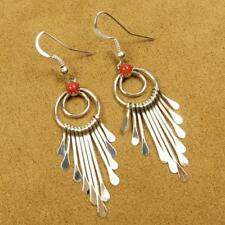 Native American Pauline Armstrong Red Coral Sterling Silver Dangle Earrings