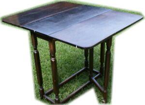 LIL PETITE ANTIQUE COTTAGE OAK DROP LEAF SIDE KITCHEN OCCASIONAL END TABLE