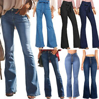 Women Skinny Flare Denim Jeans Wide Leg Bell Bottom Pants Trousers Jeggings Slim