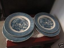 """Set of 4 Currier and Ives Dinner Plates The Old Grist Mill Blue and White 10"""""""