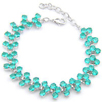 "Gorgeous Shiny Handmade Green Fire Topaz Gems Silver Chaming Bracelet 8"""