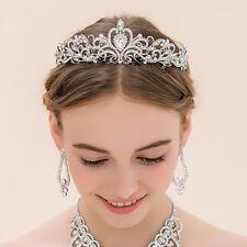 Wedding Bride Princess Silver Crystal Crown Tiara Hairband Prom Headband Jewelry