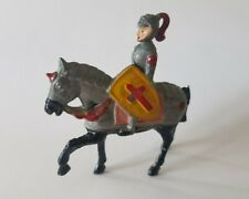 VINTAGE 1953 CHARBENS MOUNTED KNIGHT ON ARMOURED HORSE LEAD HOLLOW CAST FIGURE