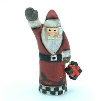 Hand Carved Wood Wooden Santa Claus Figurine Merry Christmas gift
