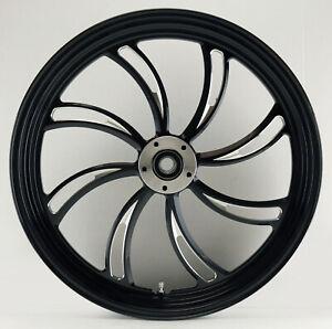 "Vortex ""Black Cut"" CNC 18"" x 3.5"" Dual Disc Front Wheel for Harley Custom Models"