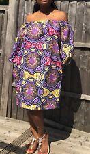 African Print Dress Ankara Off Shoulder Bardot dress Purple Mix Dashiki Uk 12