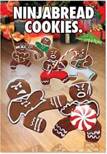 B5982 Box Set of 12 Ninjabread Cookies Mean Christmas Cards with Envelopes xmas