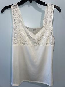 Bay Studio Intimates Cream Lace Trim Camisole Size L