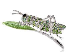 Grasshopper On Leave Pin Brooch Gift Bling Silver Metal Green Crystal Rhinestone