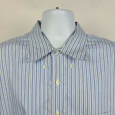 Brooks Brothers Non Iron Blue White Striped Mens Dress Button Shirt Size 2XL XXL
